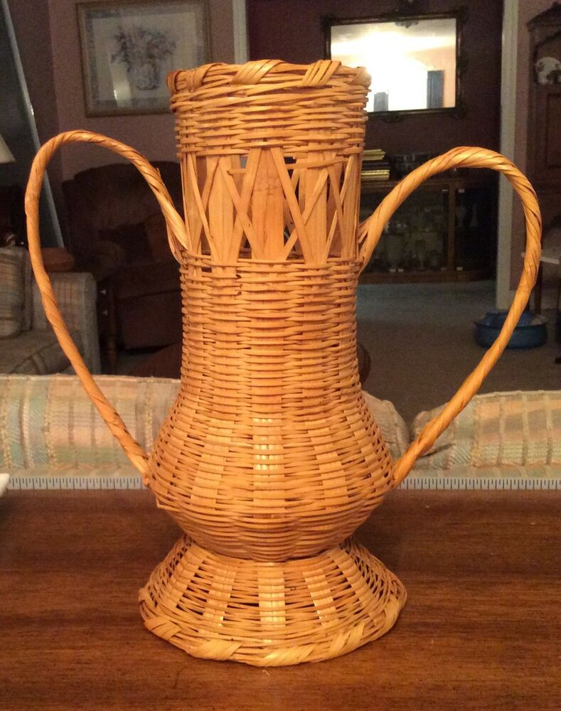 Best Antique Vintage Decorative Wicker Basket Tall Urn With This Month