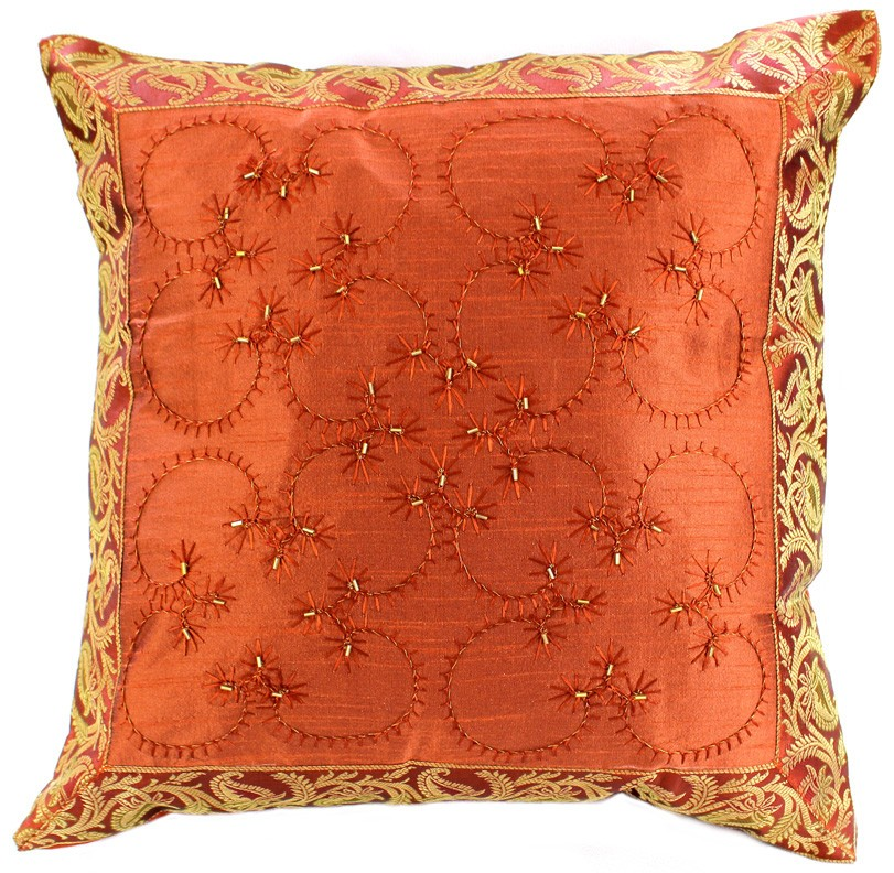 Best Hand Embroidered Beaded Throw Pillow Cover Banarsi Designs This Month