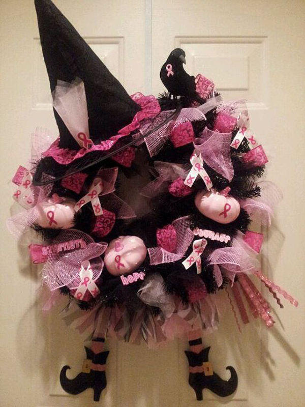Best Halloween Wreath For Br**St Cancer Awareness Month This Month