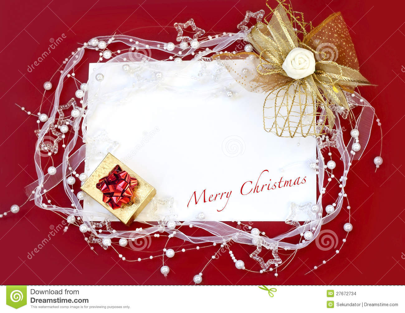 Best Christmas Card With Decoration On Red Background Stock This Month