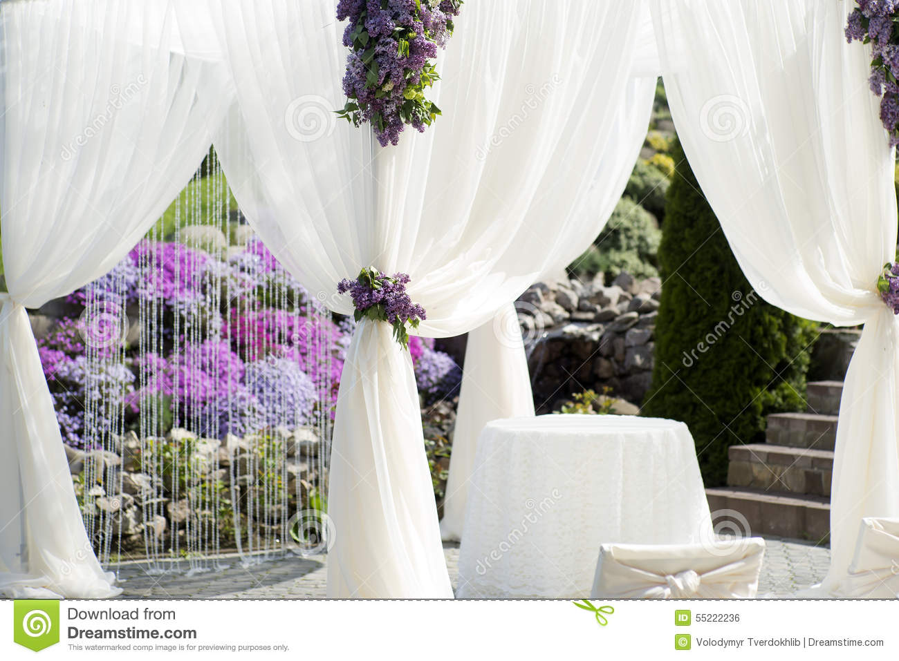 Best Festive Wedding Decoration Of White Fabric Closeup Stock This Month
