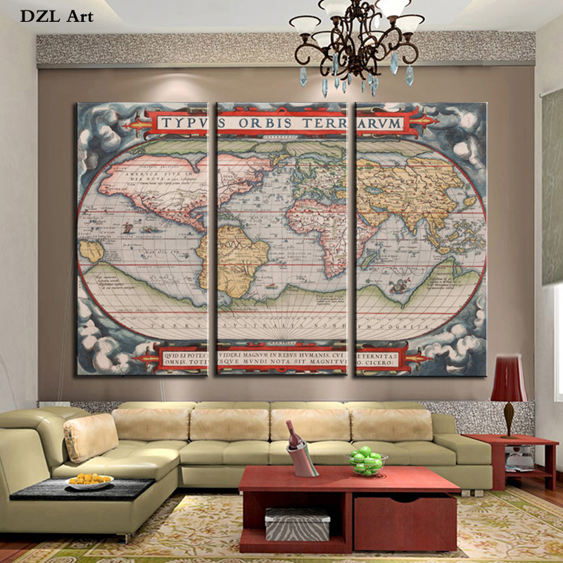 Best Drop Shipping 3 Piece 1570 Year World Map Home Wall Decor This Month