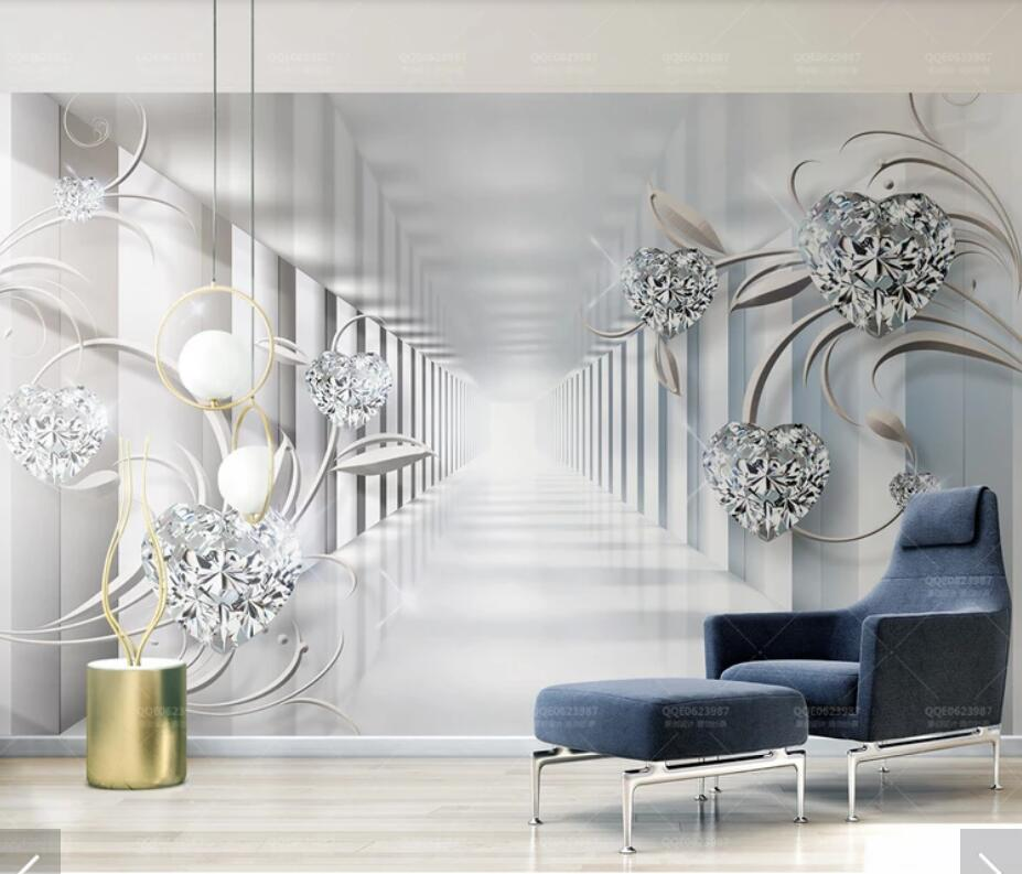 Best 3D Abstract White Flower Diamond Wall Mural Wallpaper Wall This Month