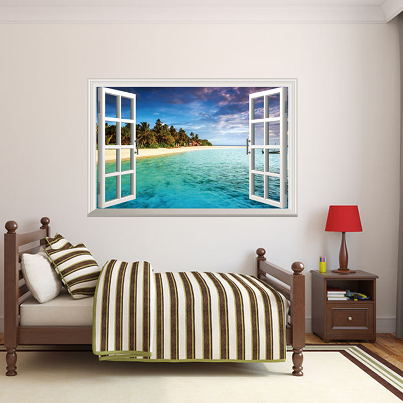 Best Shijuehezi Removable Fake Window 3D Wall Stickers Beach This Month