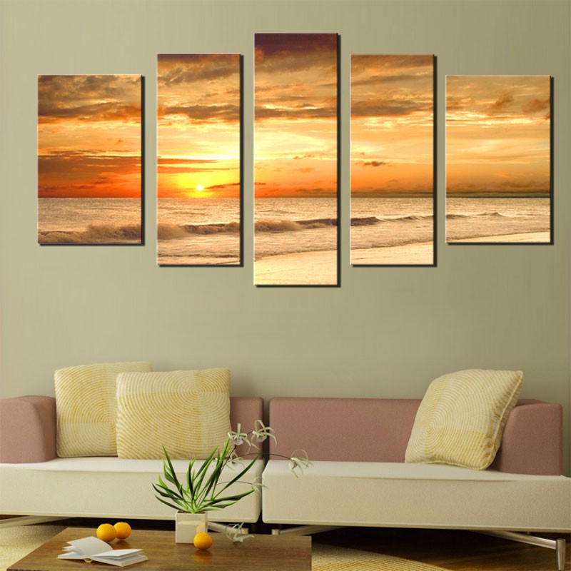 Best Sunset Sea Beach Ocean Wave Landscape Oil Painting On This Month