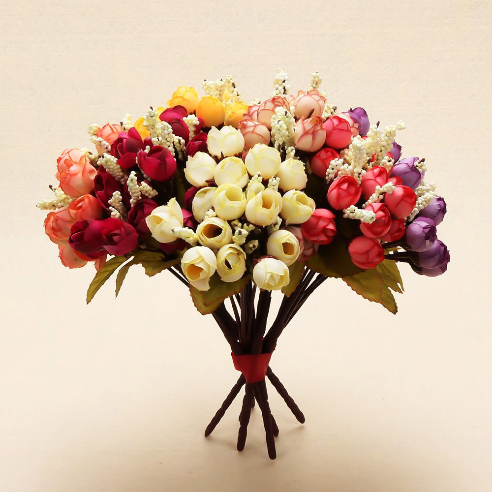 Best 15 Heads Mini Rose Colorful Silk Flowers Artificial Flower This Month