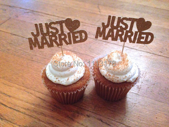 Best Cheap Just Married Cupcake Toppers Wedding Decorations This Month