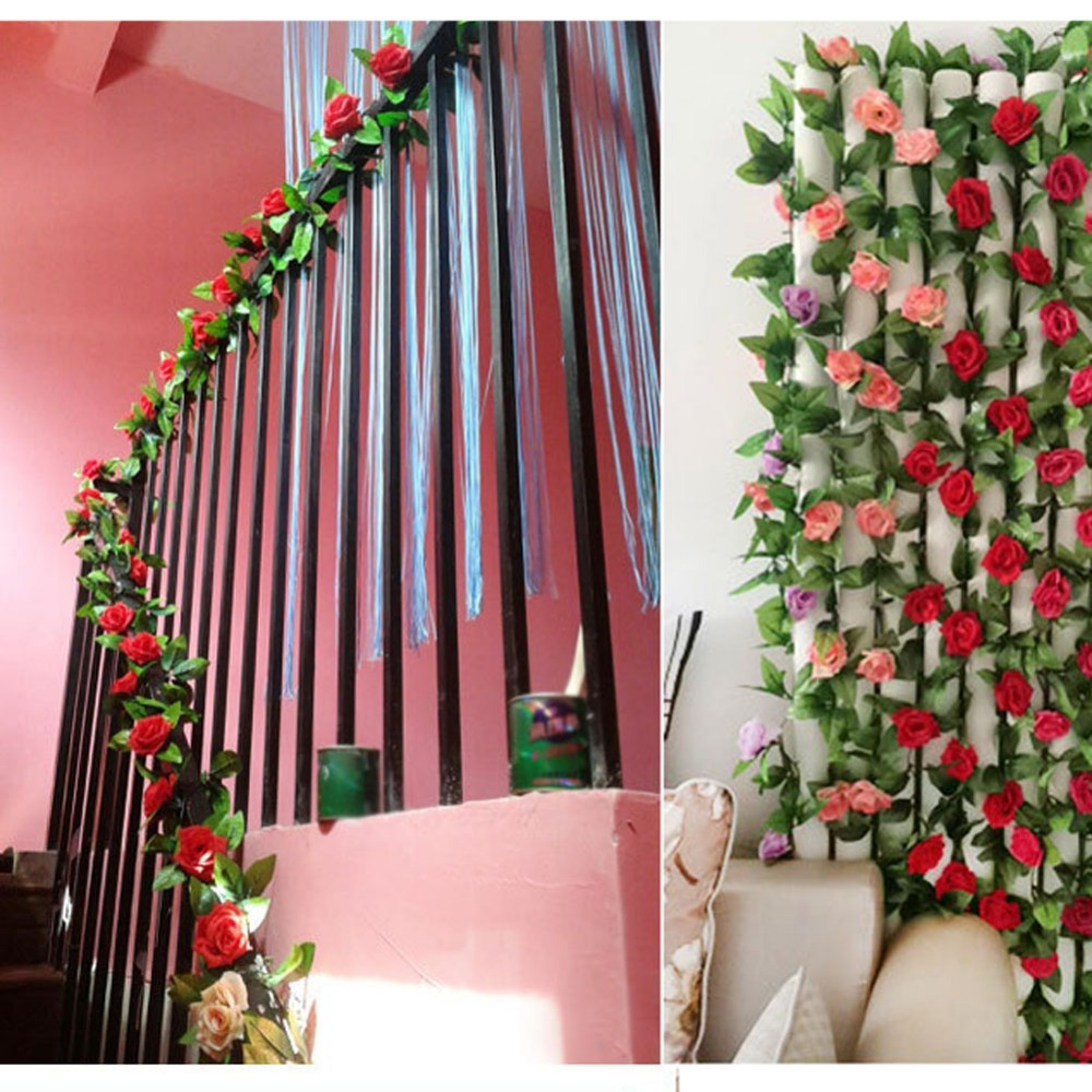 Best Artificial Rose Garland Flower Vine Ivy Home Decor This Month
