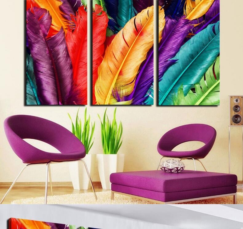 Best 3 Piece Unframed Embellish Colorful Feather Canvas Modern This Month