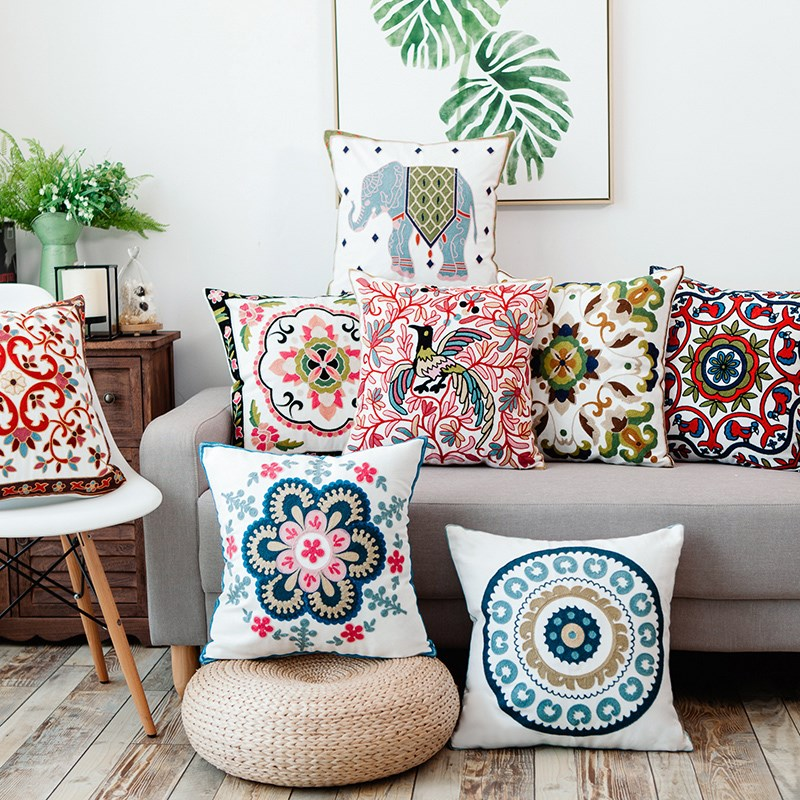 Best Drop Ship Luxury Cotton Embroidered Cushion Cover Flower This Month