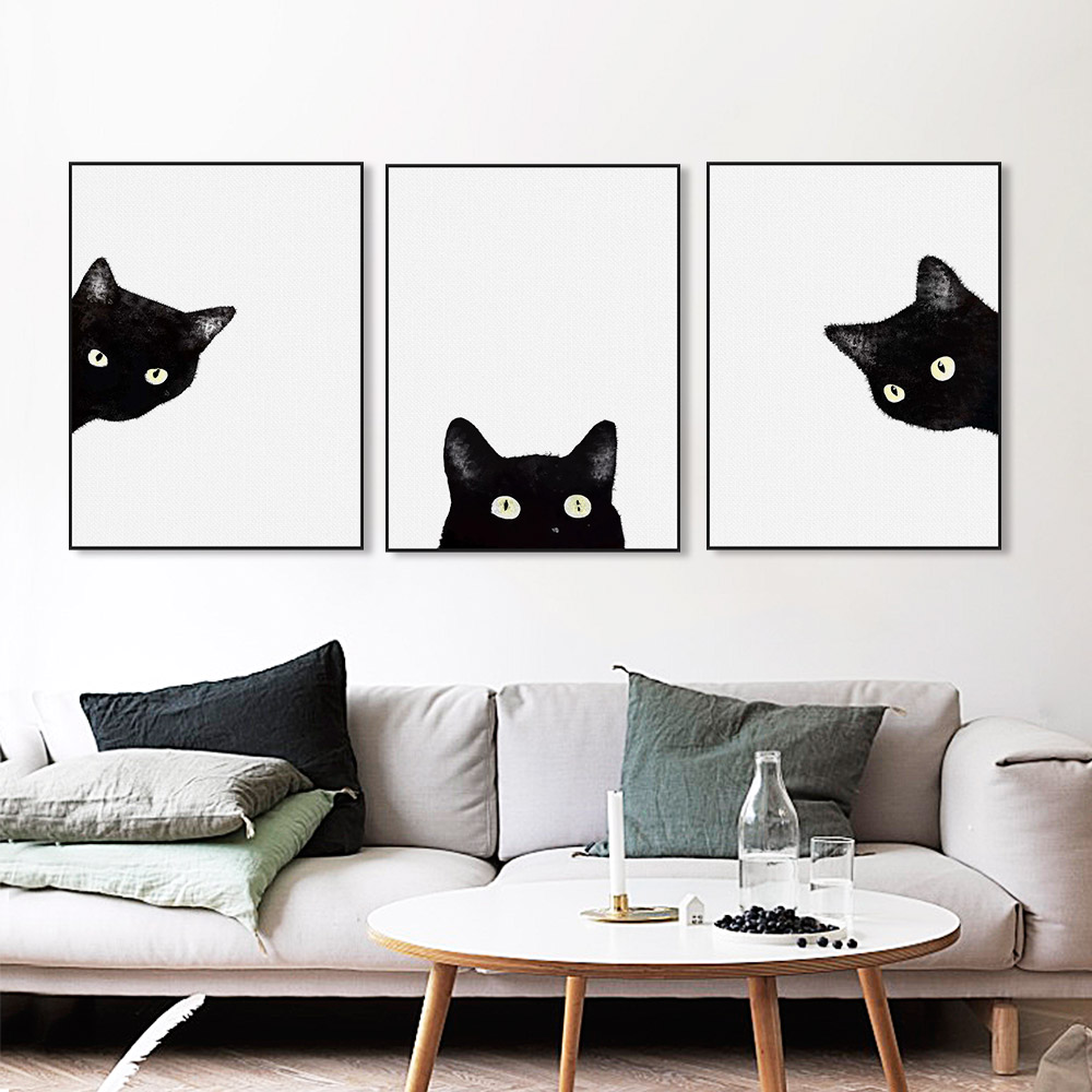 Best Modern Kawaii Animals Black Cats Canvas Art Print Poster This Month
