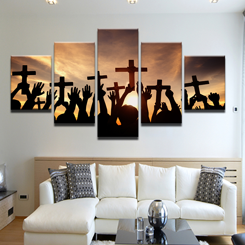 Best Drop Shipping 5 Panel Printed Canvas Print Painting Cross This Month