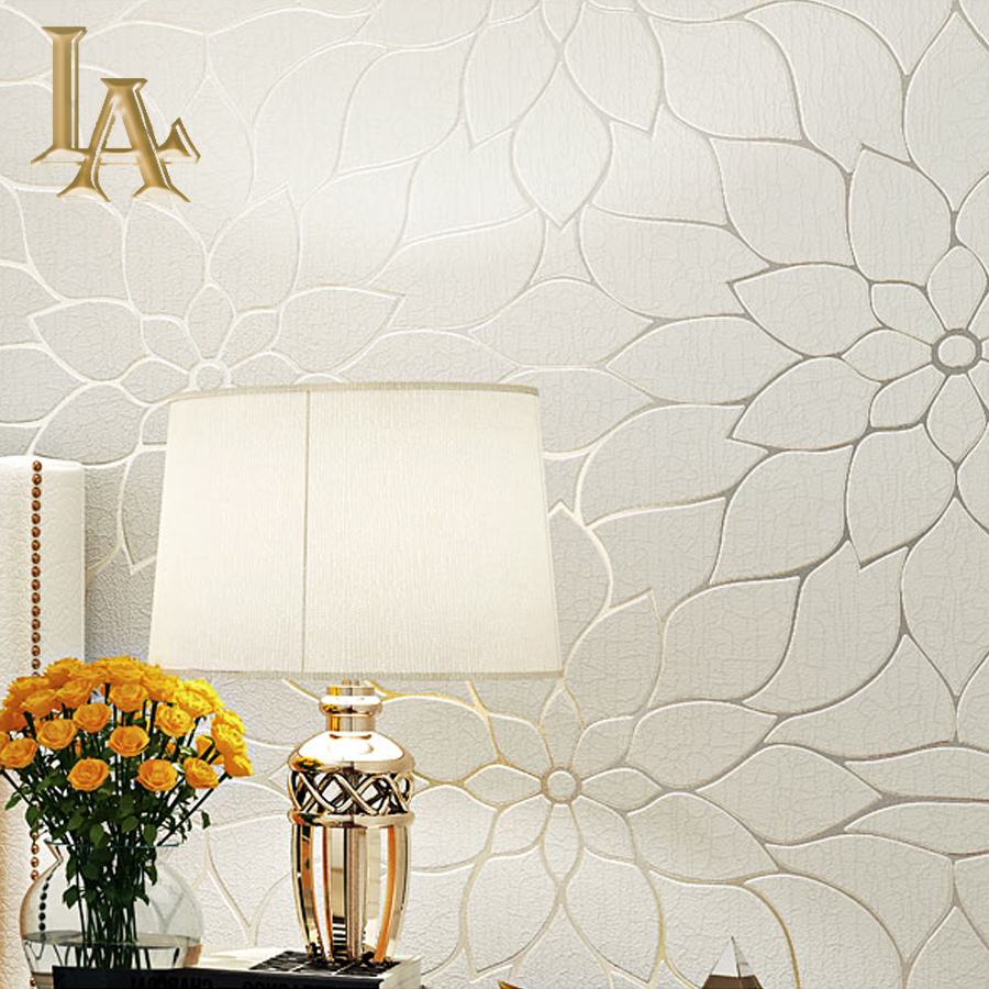 Best Thick Flocked Modern Simple Lotus 3D Wallpaper For Walls This Month