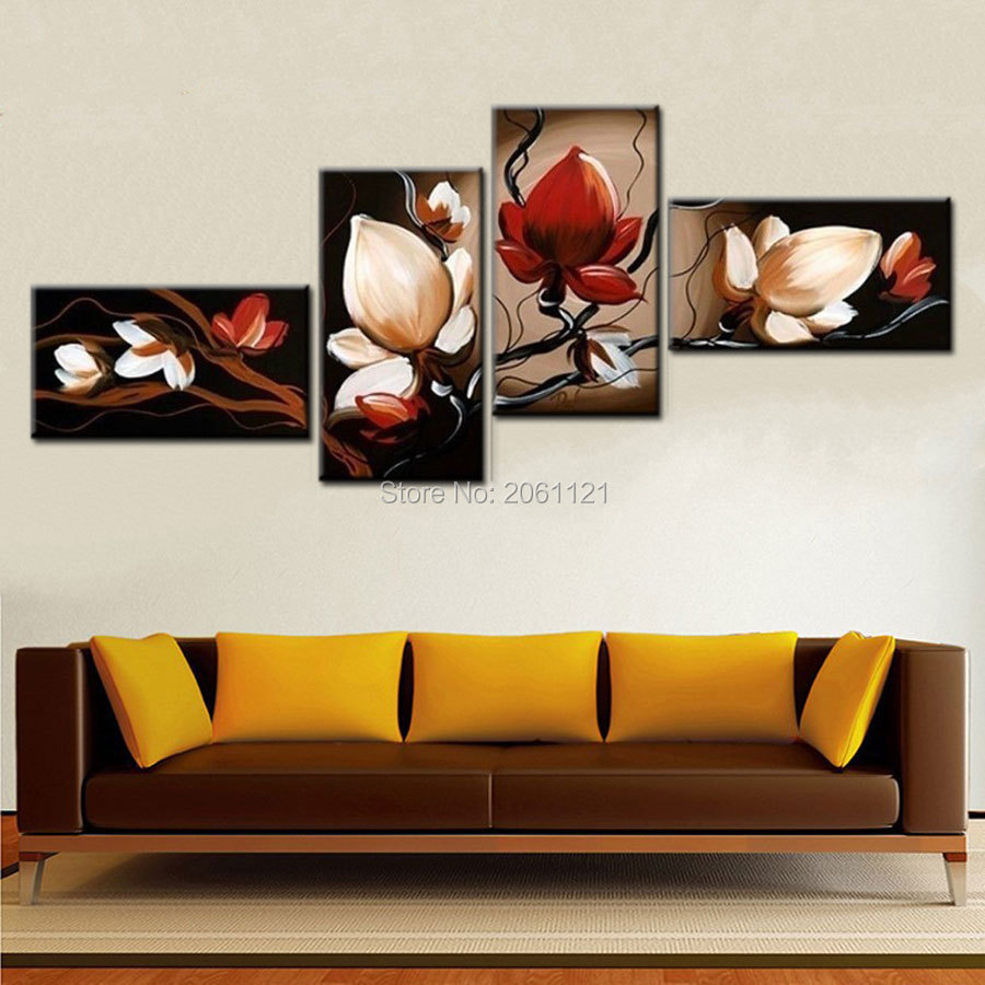 Best Sale Dark Red Flower Art Canvas Painting Oil Cheap This Month