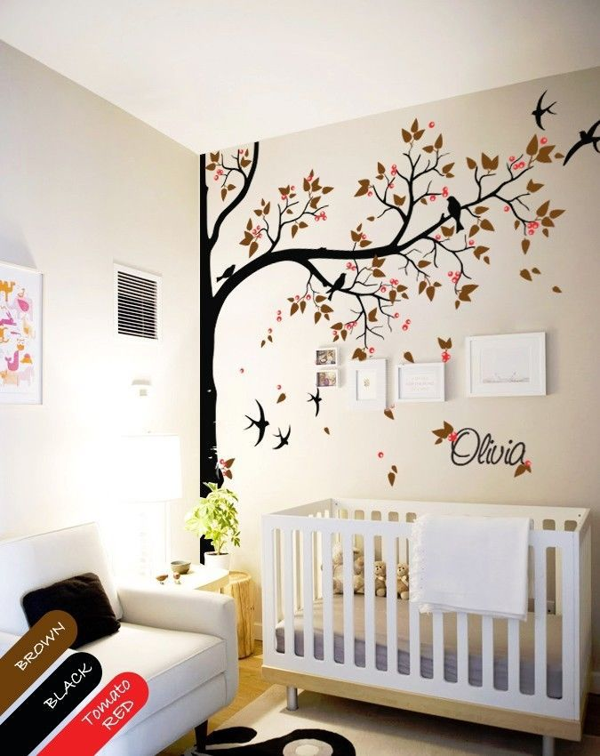 Best Nursery Wall Decal Tree Swallows And Baby Name Baby Room This Month