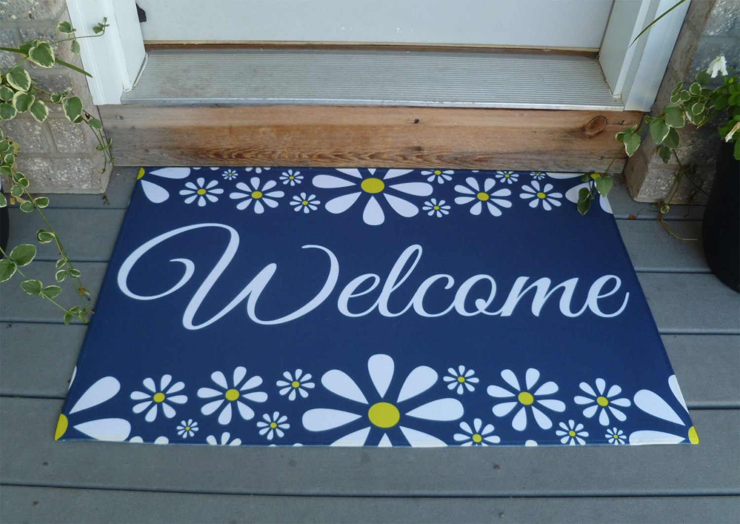 Best Decorative Vibrant Outdoor Indoor Welcome Mat With Flower This Month