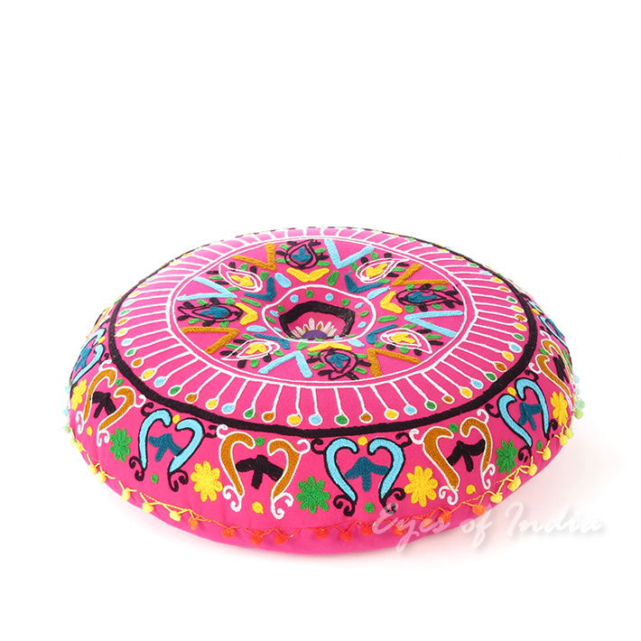 Best Pink Embroidered Round Decorative Seating Boho Colorful This Month