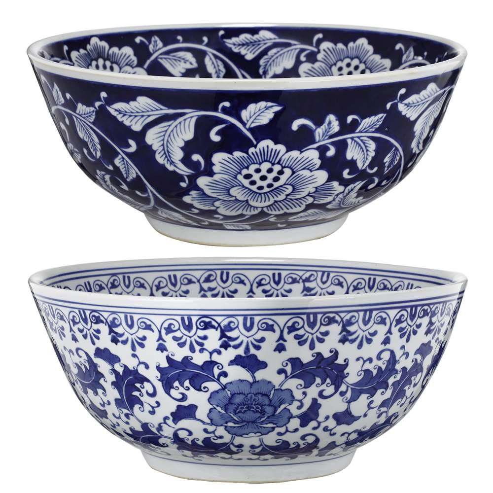 Best A B Home 16 In X 7 In Blue And White Decorative Bowls This Month