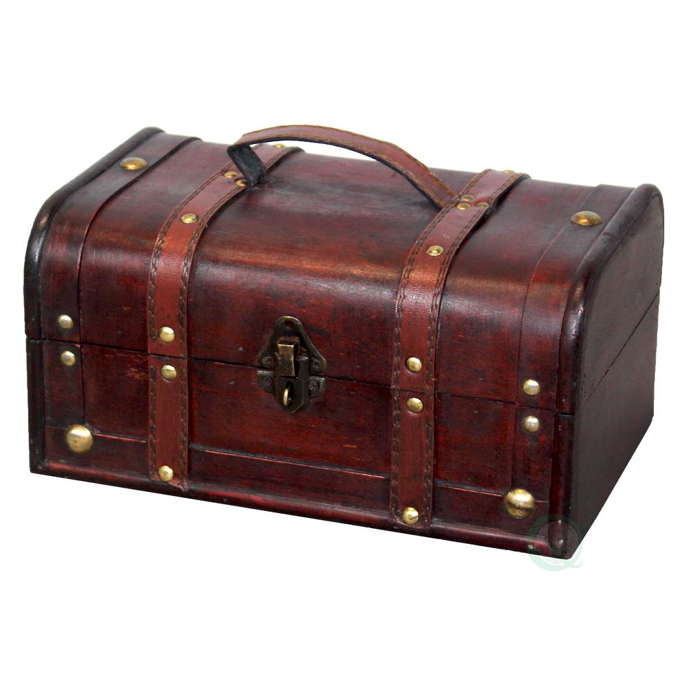 Best Vintiquewise Decorative Wood Treasure Box Wooden Trunk This Month