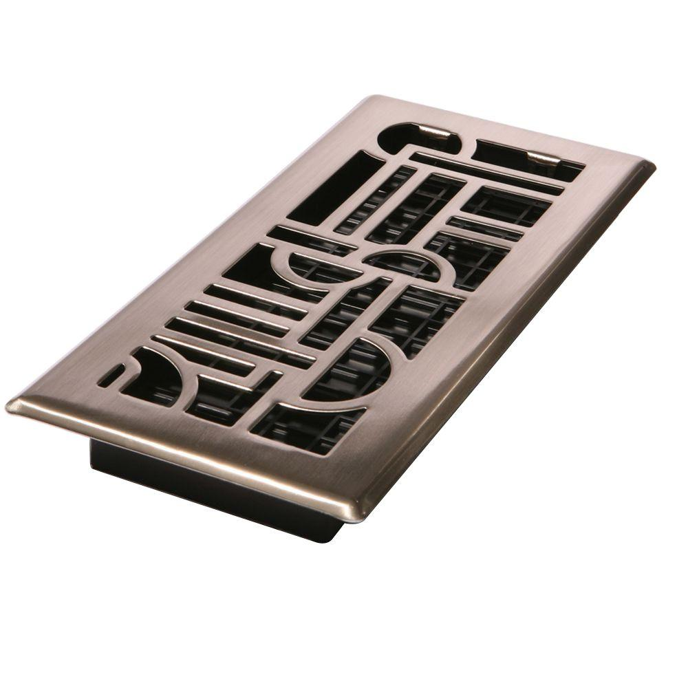 Best Decor Grates 4 In X 14 In Art Deco Floor Register In Brushed Nickel Adh414 Nkl The Home Depot This Month