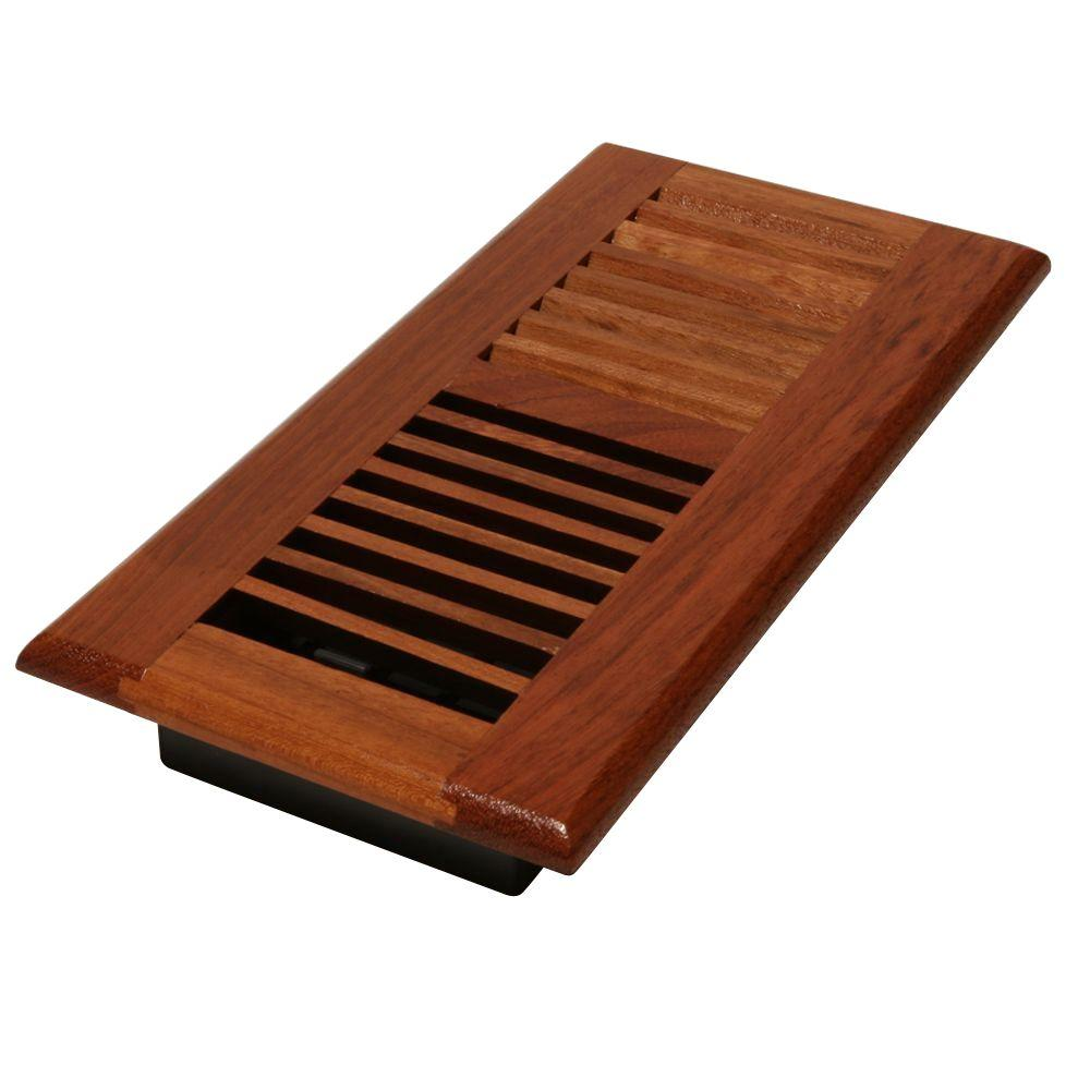 Best Decor Grates 4 In X 14 In Solid Brazilian Cherry Wood Floor Register With Damper Box Wlc414 N This Month