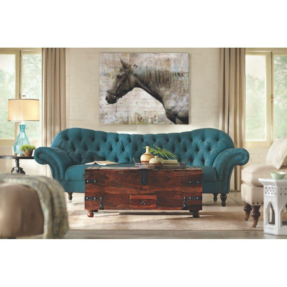 Best Home Decorators Collection Arden Peacock Polyester Sofa This Month