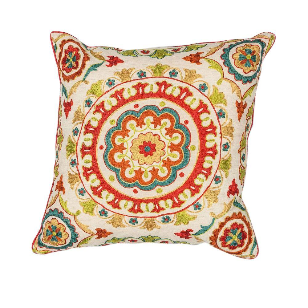 Best Kas Rugs Round Mosaic Red Teal Decorative Pillow This Month