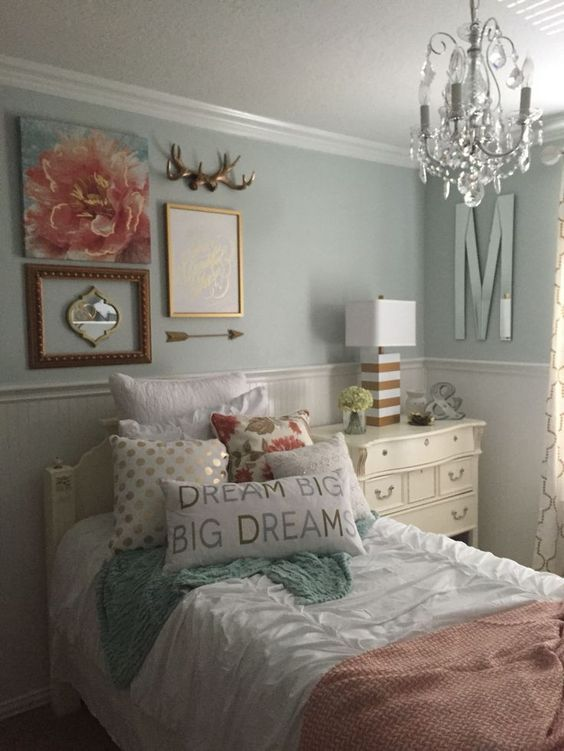Best Girls Bedroom Mint Coral Blush White Metallic Gold This Month