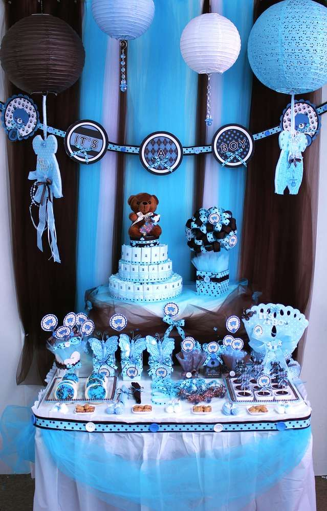Best Brown Blue Teddy Bear Theme Baby Shower Party Ideas This Month