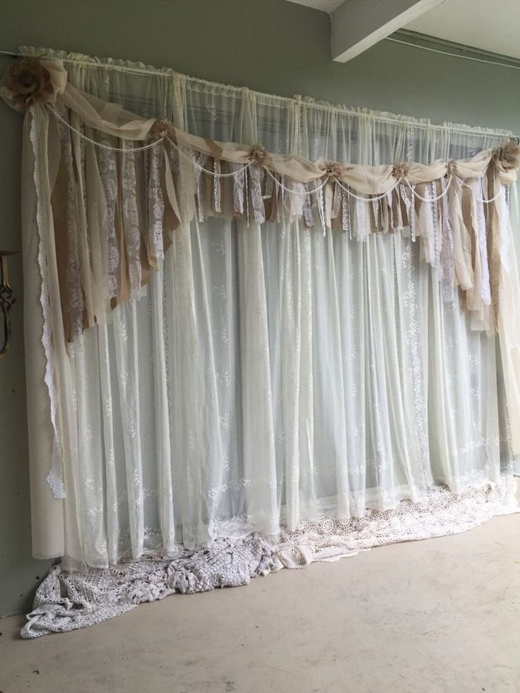 Best Ivory Backdrop Shabby Chic Fabric Burlap Lace Garland This Month