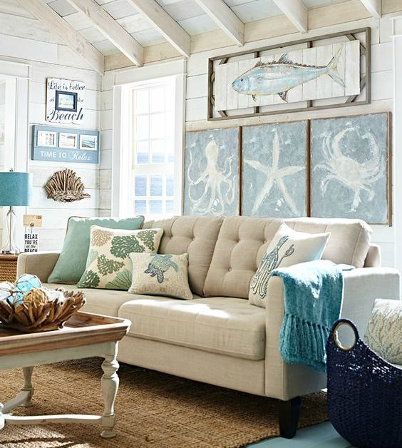 Best Beachy Living Room Big On Wall Decor Beach Bliss Designs This Month