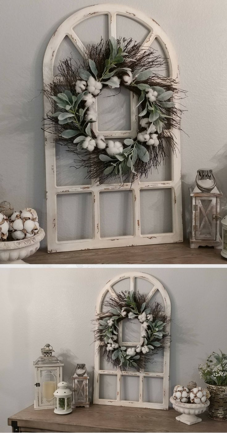 Best Farmhouse Wall Decor Distressed Window Pane Grapevine This Month