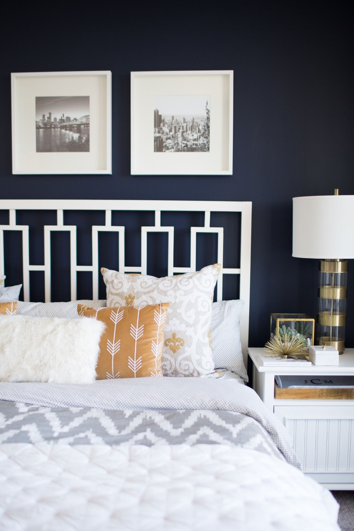 Best A Look Inside A Blogger S Navy And Mustard Bedroom This Month