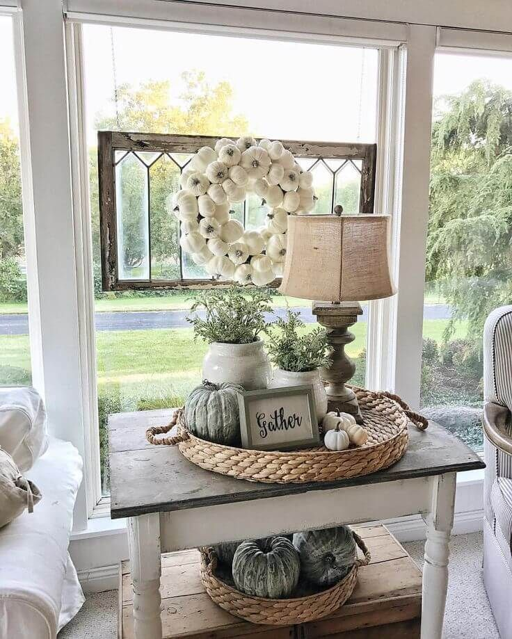 Best Autumnal Pumpkin End Table Display Farm House Decor This Month