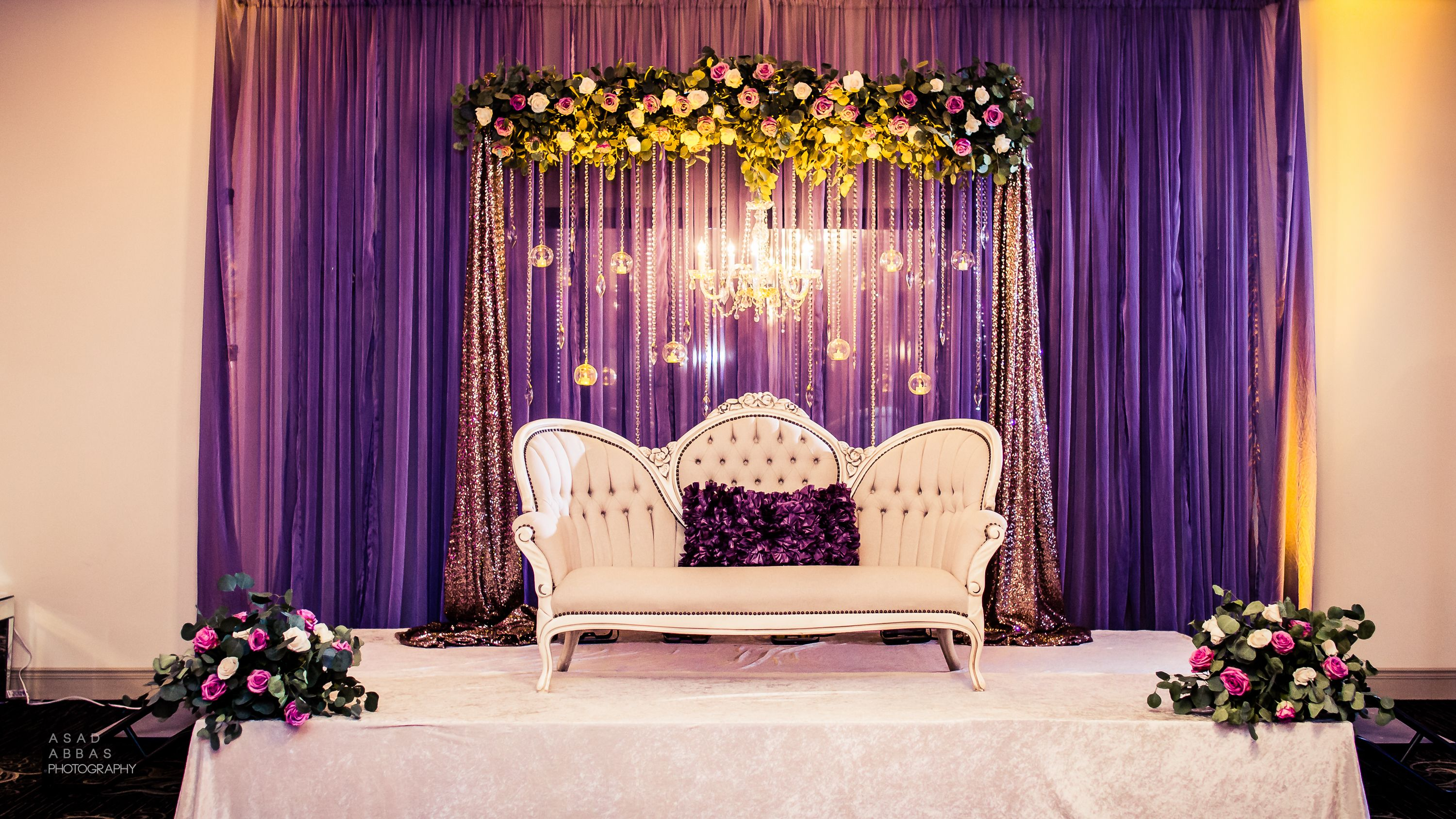 Best Lilac Engagement Stage Draped Backdrop With Fresh Floral This Month
