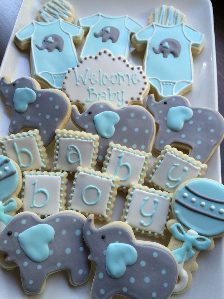 Best Baby Shower Cookies Decorated Cookies Baby Boy Elephant This Month
