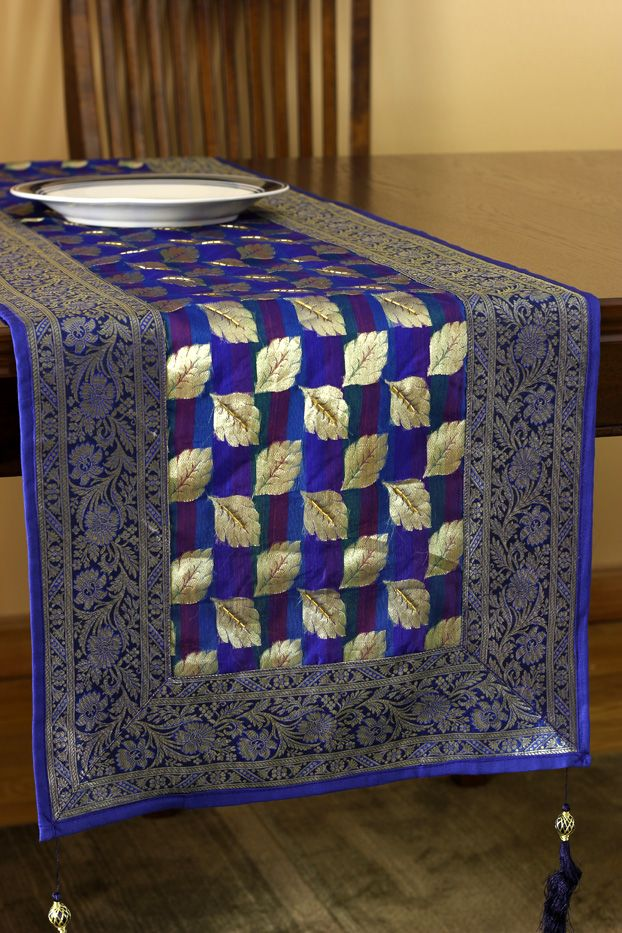 Best Artistic Blue Satin Table Runner Beautifully Made In This Month