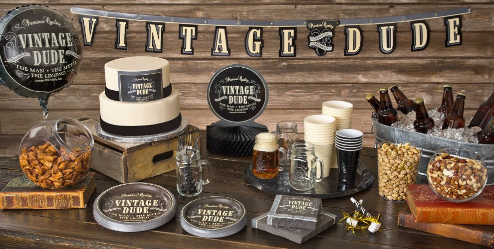 Best Vintage Dude Over The Hill Party Supplies Happy Birthday This Month