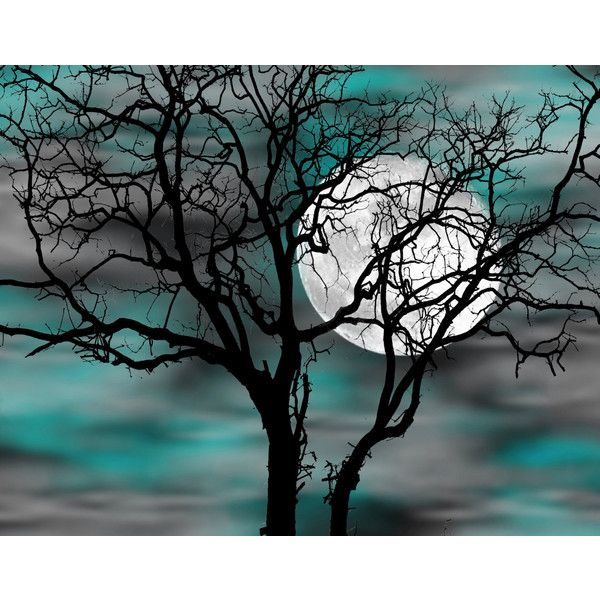 Best Teal Gray Wall Art Tree Moon Bedroom Decor Matted This Month