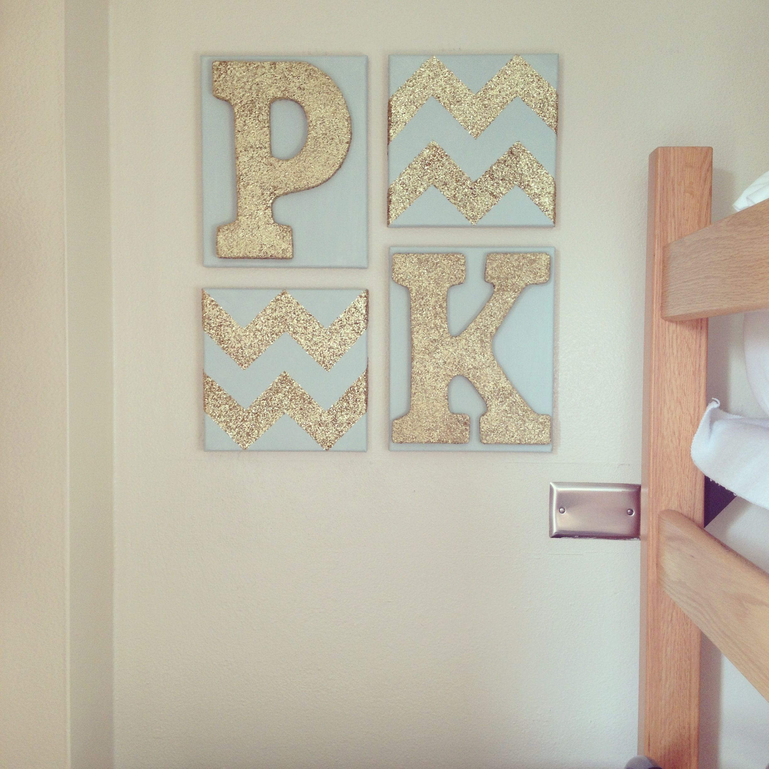 Best Glittery Gold Chevron And Roommates First Initials Make A This Month