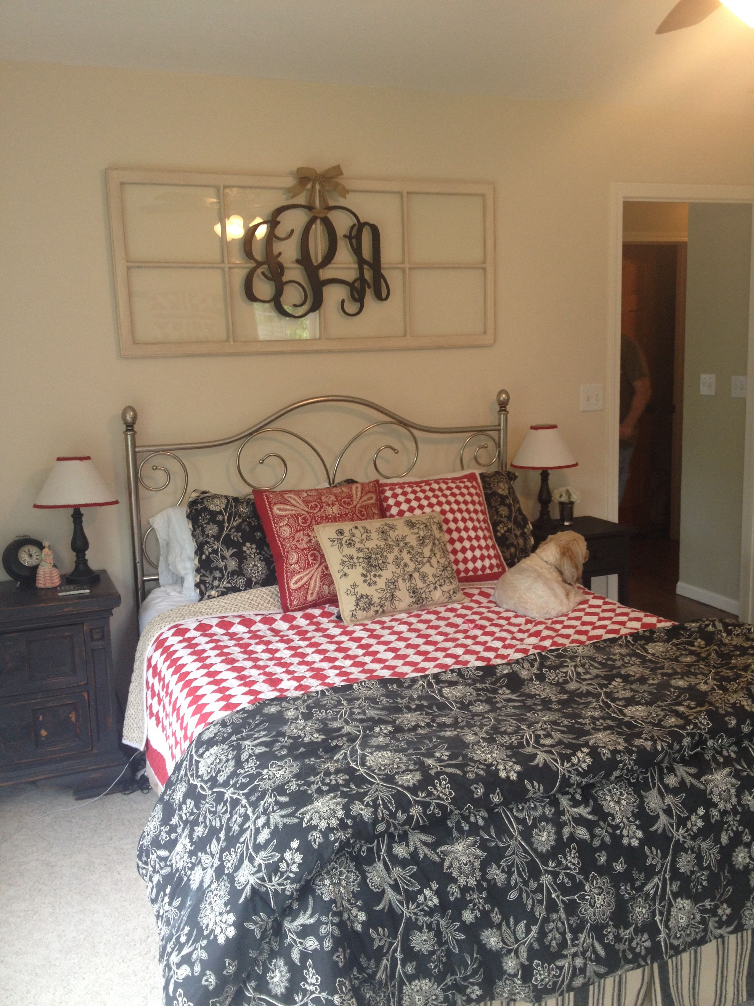 Best Old Window Above Bed With Monogram Country Decor This Month
