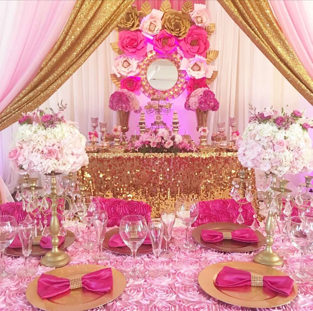 Best A Luxurious Bright Pink And Gold Quinceañera See More This Month