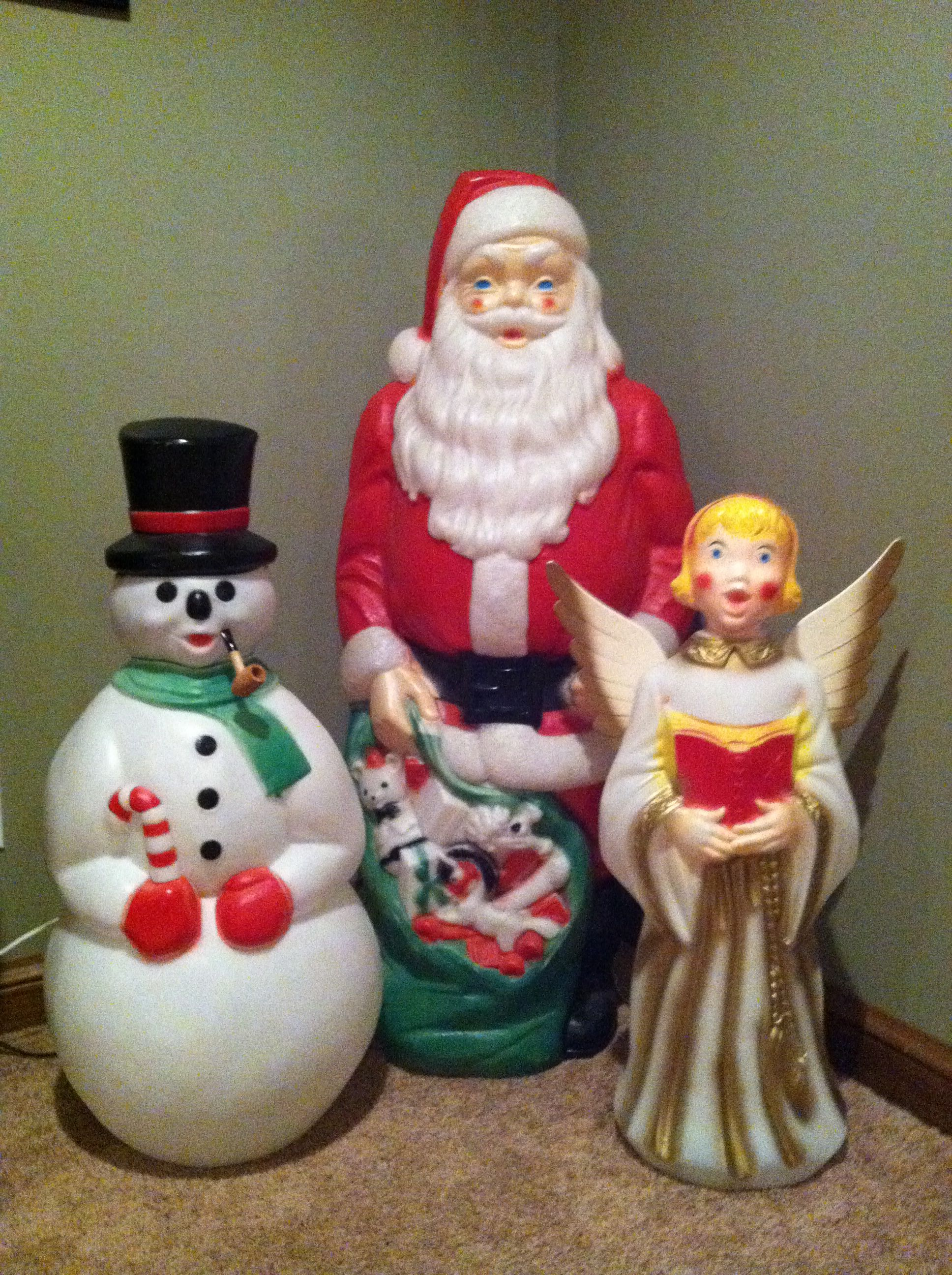 Best Vintage Outdoor Lighted Bl*W Molds Of Santa Snowman And A This Month