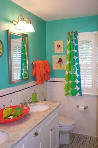 Best Great Bright Turquoise Kids Bathroom With Orange Accents This Month