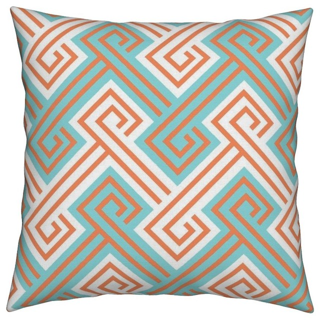 Best Greek Key Geometric Modern Preppy Turquoise Throw Pillow This Month