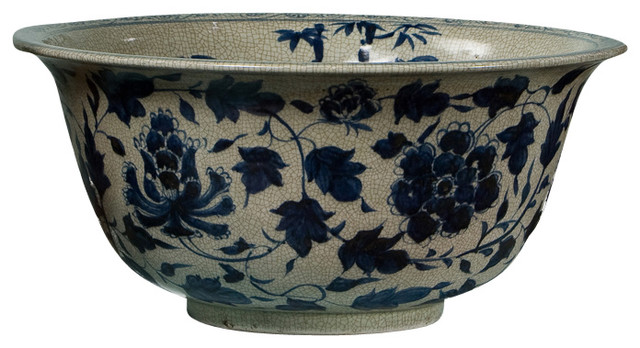 Best Porcelain Bowl Antiqued Blue And White Asian This Month