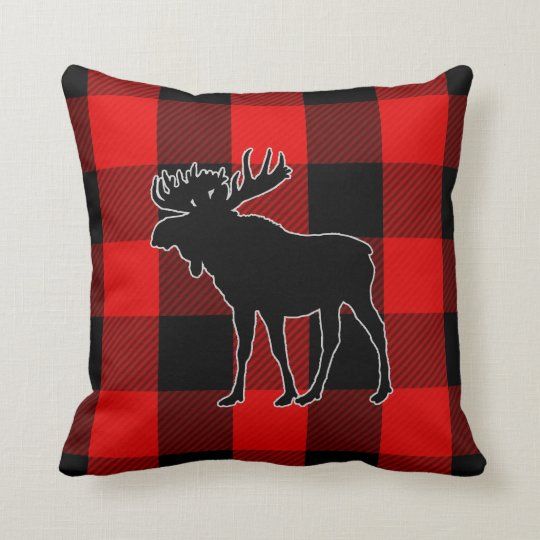 Best Preppy Black Red Buffalo Check Moose Throw Pillow This Month