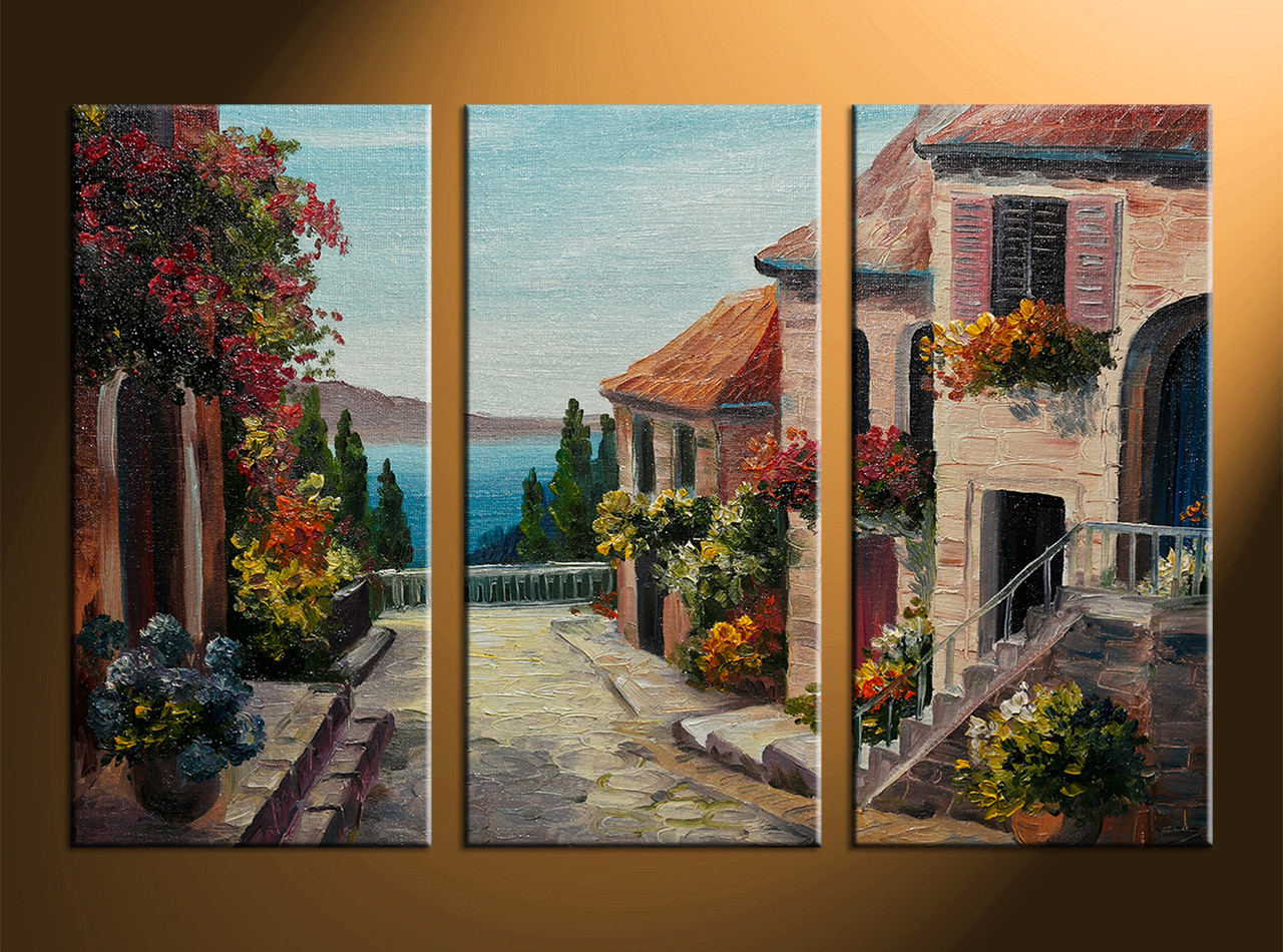 Best Triptych Colorful City Oil Paintings Canvas Wall Decor This Month