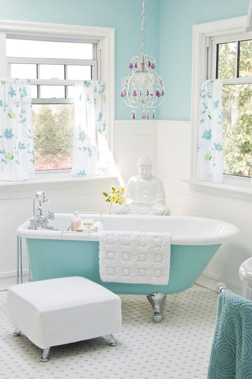 Best Light Aqua Blue White Bathroom Eclectic Living Home This Month