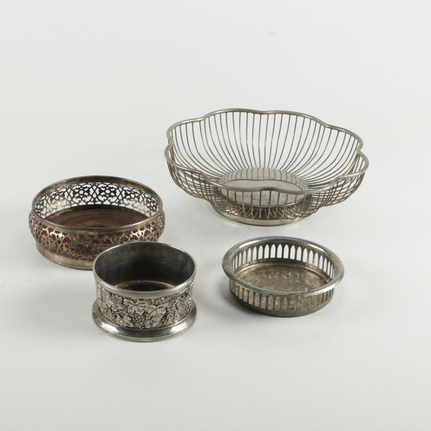 Best Decorative Metal Basket And Wine Coasters Ebth This Month